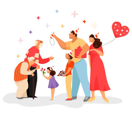 family celebration. children congratulate their grandparents. vector image of a family