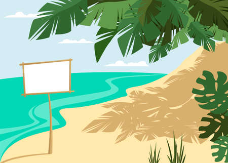 the landscape of the beach. sea view. vector image of the island shore. billboard 免版税图像 - 152407408