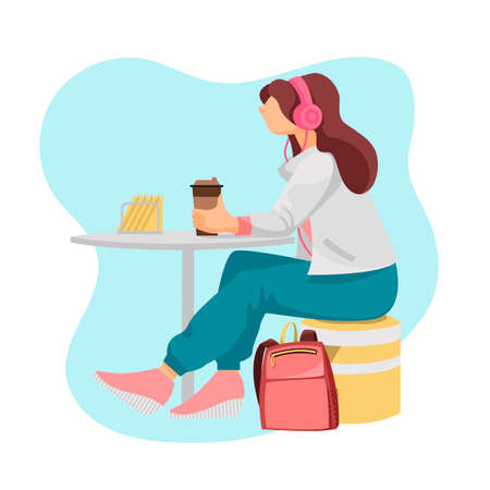 the girl in the cafe. the girl drinks coffee. vector image of a woman sitting in a cafe Illustration
