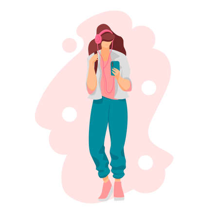 girl with music. the girl listens to music with headphones. vector image 免版税图像 - 152407412