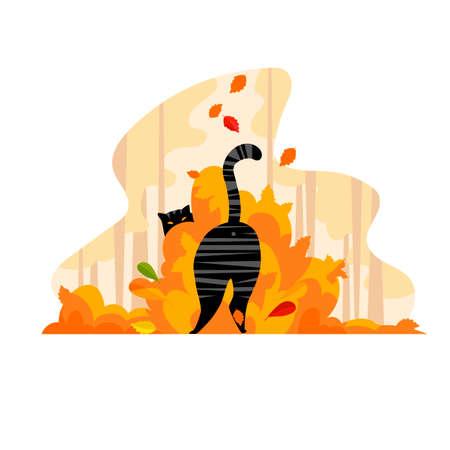 autumn cat. vector image of a cat in autumn foliage 免版税图像 - 152832706