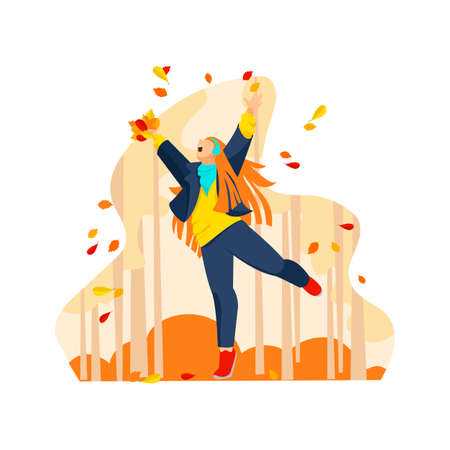 happy woman autumn. vector image of a girl in autumn with leaves 矢量图像