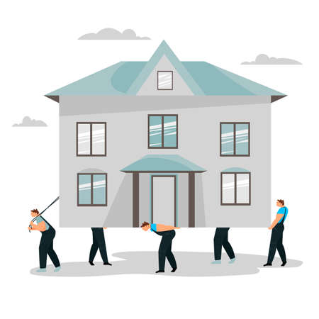 the people of the house. people carry the house. removal. workers carry the building Illustration