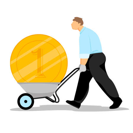 a man carries a gold coin in a wheelbarrow. heavy money. vector image of a businessman