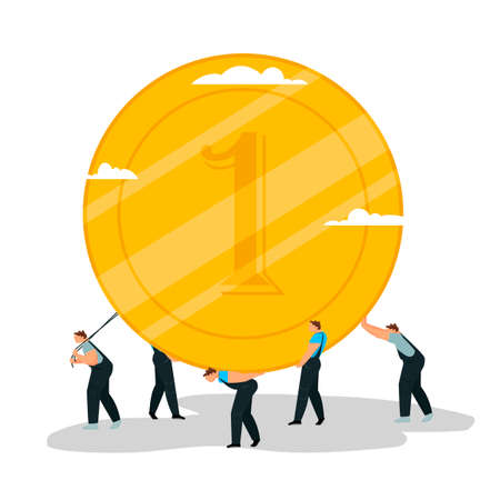 people with a coin. a group of people carries a gold coin. vector illustration