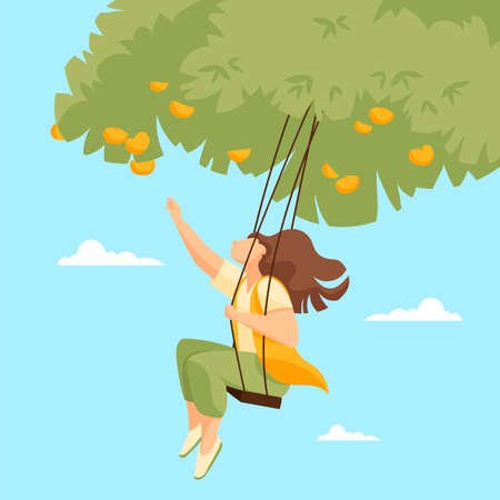 girl on a swing. vector image of a woman in nature 矢量图像