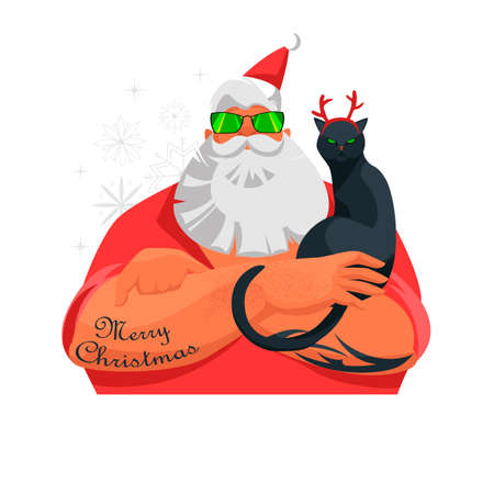 Santa. vector image of a modern Santa Claus. Christmas deer. cat with horns 免版税图像 - 153669605