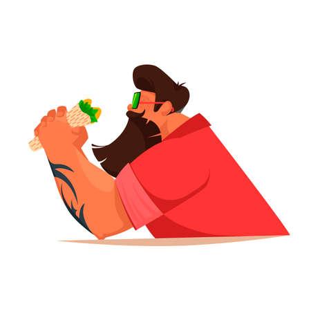 man eating. big strong man eating. vector image of a dining man 일러스트