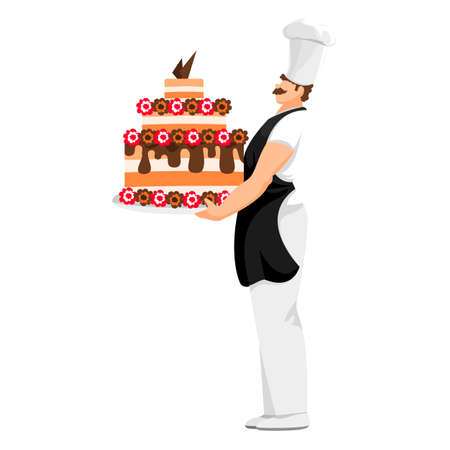 pastry chef. the cook made the cake. a man with a dish in his hands. vector image Illustration