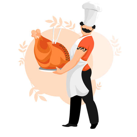 cook. chef. the cook made a Turkey. a man with a dish in his hands. vector image Illustration