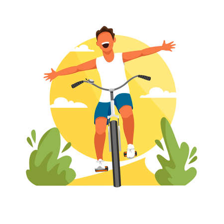 a boy rides a Bicycle. vector image of a young man in nature Illustration