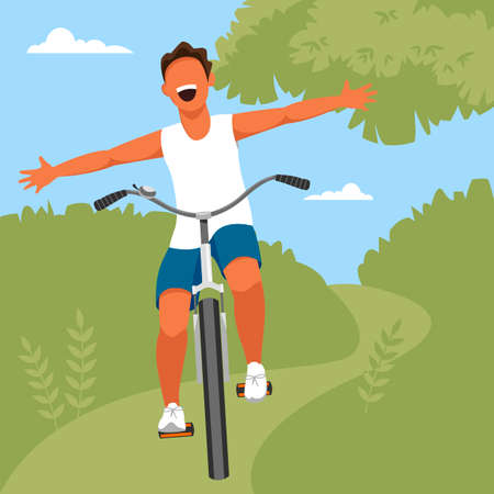 a boy rides a Bicycle. vector illustration of a young man in a Park