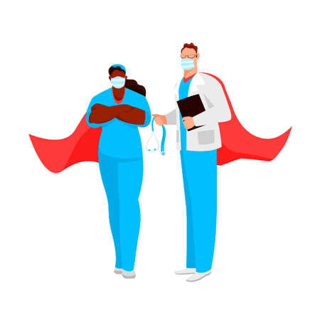 doctors are superheroes. vector image of people in medical uniforms. care worker 矢量图像