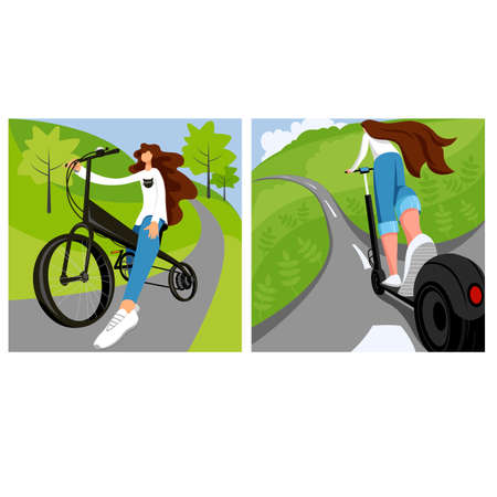 environmental transport. set of vector illustration of a person on electric bicycles and electric scooters 矢量图像