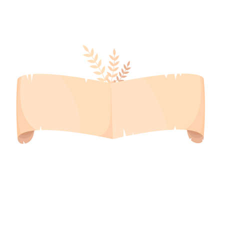 scroll. empty parchment. banner for the label. vector isolated drawing 免版税图像 - 154217971