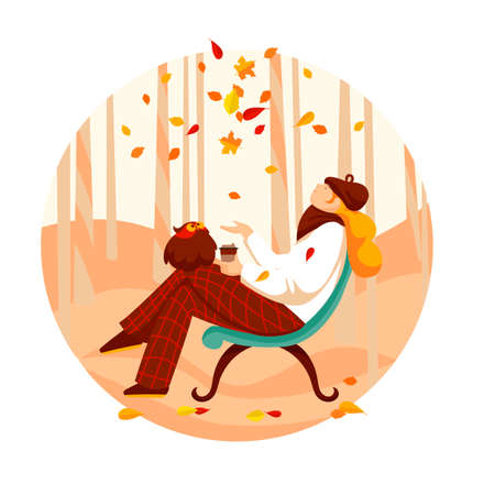 autumn girl. vector image of a woman with coffee and an owl. autumn illustration 免版税图像 - 154217975