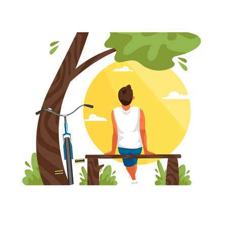 the boy is sitting with his back to nature. vector illustration of a young man with a Bicycle 免版税图像 - 154217976