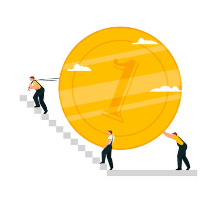 people lift the coin up the stairs. businessmen with money. vector illustration