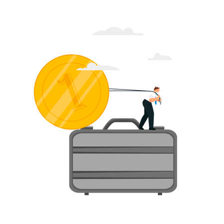 the man raises the coin. businessman pulls money. vector illustration of a man with money 免版税图像 - 155000503