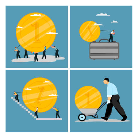 business illustration. a set of vector images on the business theme. people and money