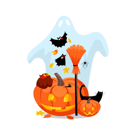 Halloween. vector illustration with a Ghost and a pumpkin. Hallowmas 免版税图像 - 155858766