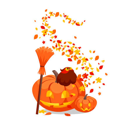Halloween. the feast of all saints. vector illustration with pumpkin and autumn leaves 免版税图像 - 155858767