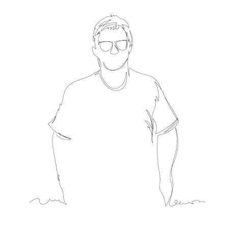 man. vector linear drawing. one continuous line. contour portrait of a person