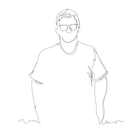man. vector linear drawing. one continuous line. contour portrait of a person 免版税图像 - 155437538