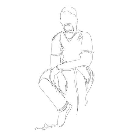 man. vector linear drawing. one continuous line. man sitting