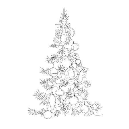 Christmas tree. contour vector drawing. one continuous line. infinite line 免版税图像 - 155534208
