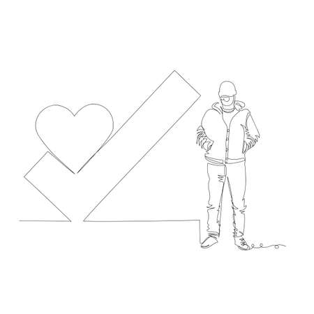 the man and the sign of the city. city day. vector contour image. one line. line Illustration