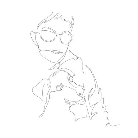 a man with a dog. contour vector drawing. a woman with a puppy. line. one line Illustration