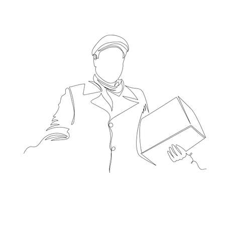 postman. the person with the package. infinite line. vector contour image 免版税图像 - 155858769