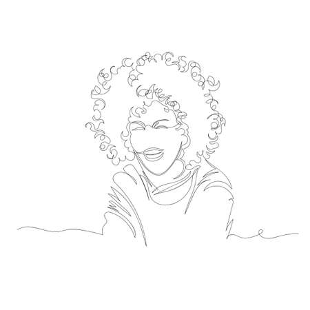 the woman laughs. vector image of a woman. one line. continuous line