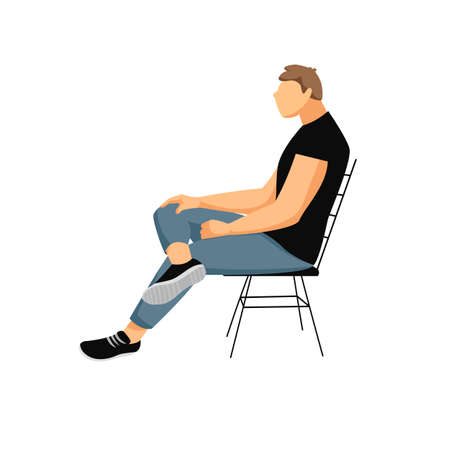 a man is sitting on a chair. a person in a relaxed position. vector image