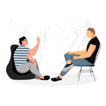 people are talking. two people are discussing sitting opposite. interview. vector image 免版税图像 - 156948401