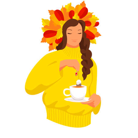 autumn girl. the girl drinks tea. vector image of a man with a Cup of hot drink 免版税图像 - 156999397