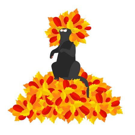 autumn cat. autumn leave. bright vector illustration with a kitten on an autumn theme