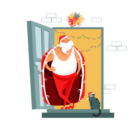 Santa Claus. vector image of Santa. invitation to a party. cat with deer antlers. Merry christmas 矢量图像