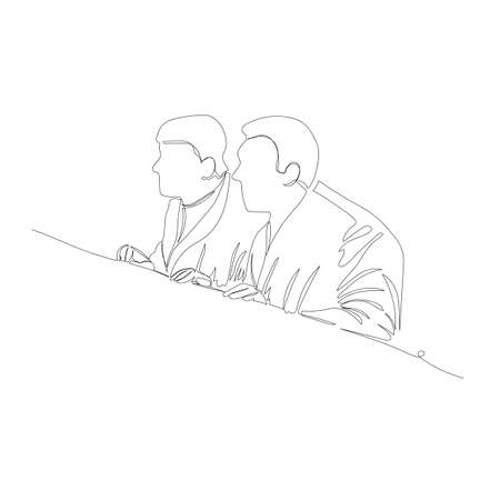 watching people. vector image of people. one line. continuous line