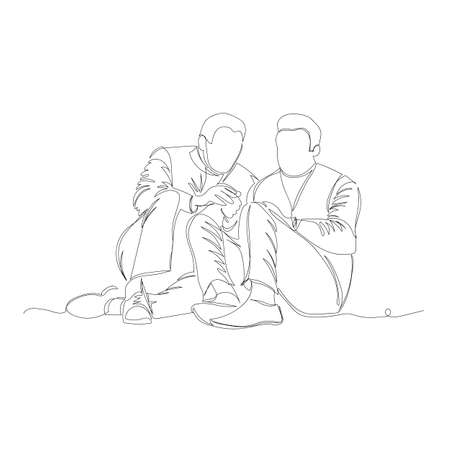 people are sitting. vector image of people sitting next to each other. one line