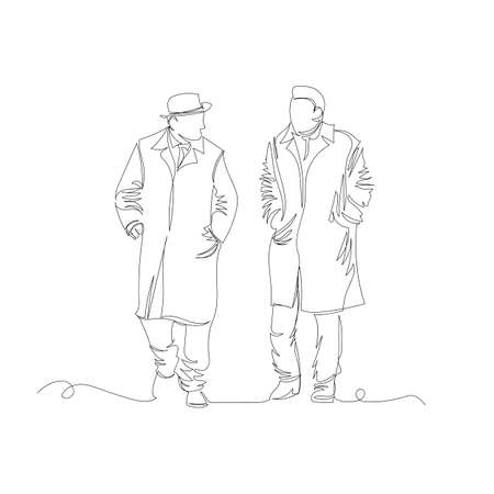 two people walking. one line. continuous line. people are talking on the street. contour images