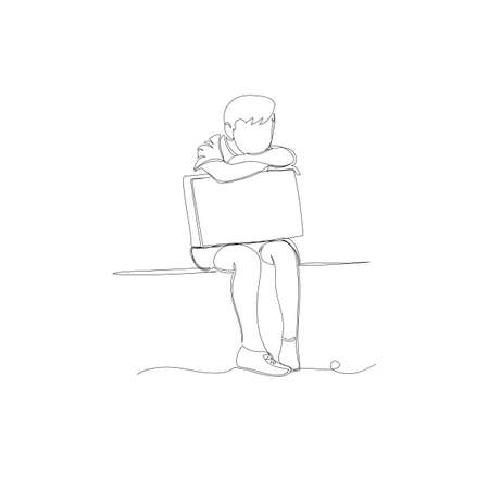 child. vector contour drawing of a sitting child. schoolboy. thoughtful little boy
