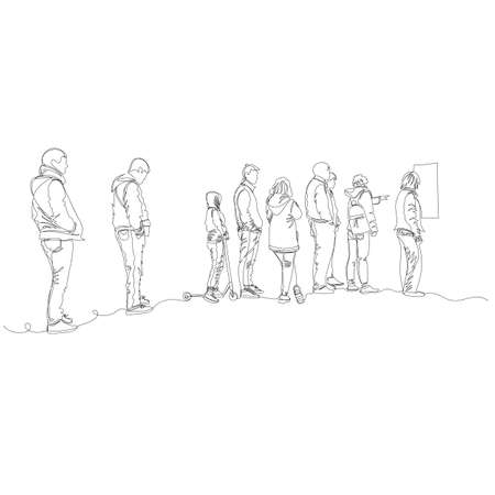 people in line. people stand at a distance. vector contour image with a single line. infinite line 矢量图像
