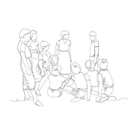 group of children. vector outline image of a crowd of children. one line. outline drawing