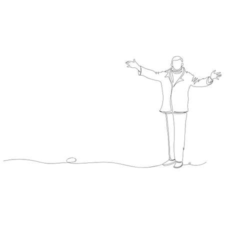 the person greets. vector contour image of a man. one line. outline drawing