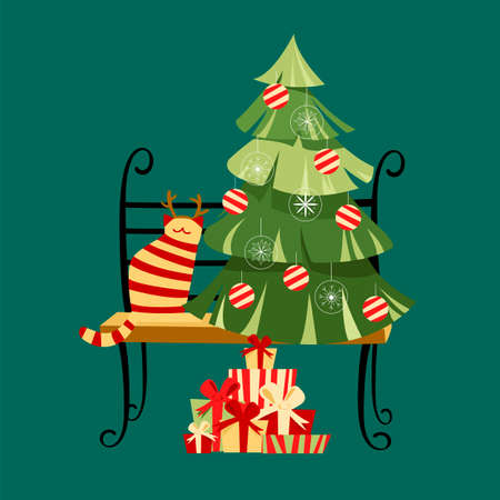 Christmas tree. vector image of gifts for the holiday. spruce and cat on the bench