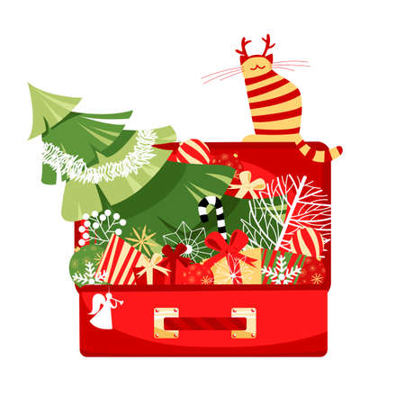 Christmas decorations. vector image of a set of holiday decorations. suitcase with toys for Christmas 矢量图像