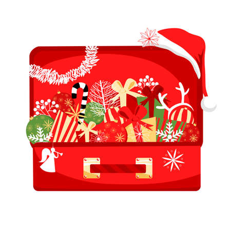 Christmas decorations in a suitcase. vector image of festive balloons and gifts for Christmas