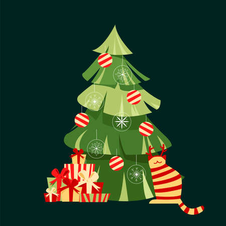 Christmas tree with gifts. vector image for a holiday. greeting card